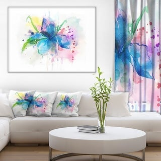 Designart 'Iris Watercolor Illustration Art' Animal Canvas Wall Art - White