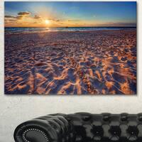 Designart 'Trodden Sandy Beach at Sunset' Seashore Art Print on Canvas