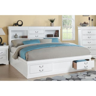 White Acme Furniture Louis Philippe III Bed with Storage