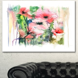 Designart 'Pink Floral Watercolor Illustration' Large Animal Canvas Wall Art Print - Pink