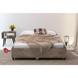 Barcelona Mid-Century Queen Bed (Option: Brown Finish)