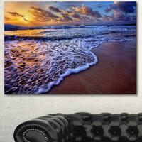 Designart 'Sunset over Blue Sea Waves' Seashore Art Print on Canvas