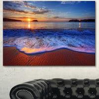 Designart 'Blue Waves on Sandy Beach' Seashore Art Print on Canvas