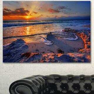Designart 'Beautiful Seashore with Yellow Sun' Seashore Art Print on Canvas