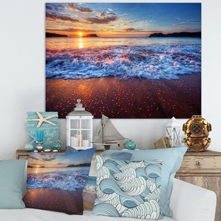Designart 'Blue Sea Waves during Sunset' Seashore Art Print on Canvas