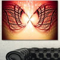 Designart 'Bright Light on Red Fractal Design' Abstract Canvas Wall Art Print