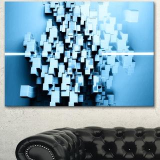Designart 'Blue 3D Cubes Fractal Design' Abstract Canvas Wall Art Print