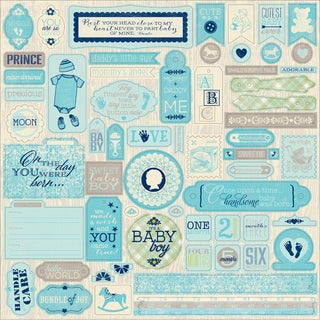 "Cuddle Boy Cardstock Stickers 12""X12"""
