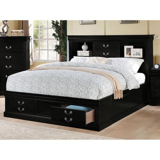 black acme furniture louis philippe iii bed with storage - King Size Storage Bed Frame