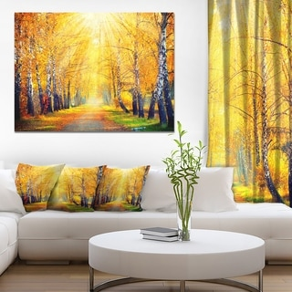 Designart 'Yellow Autumn Trees in Sunray' Large Landscape Art Canvas Print