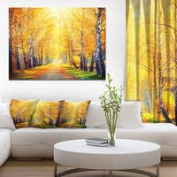 Yellow Autumn Trees in Sunray' Landscape Art Canvas Print