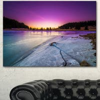 Designart 'Sunrise over Frozen Lake' Landscape Artwork Canvas Print - Purple