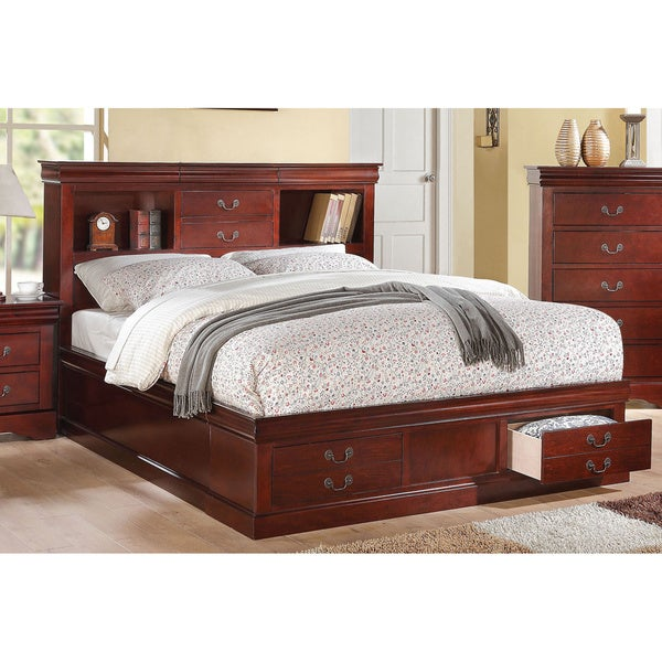 Cherry Acme Furniture Louis Philippe III Bed with Storage. Cherry Acme Furniture Louis Philippe III Bed with Storage   Free