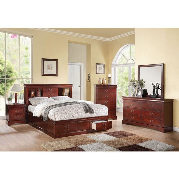 louis philippe bedroom furniture. Cherry Acme Furniture Louis Philippe III Bed with Storage  Free Shipping Today Overstock com 19901653
