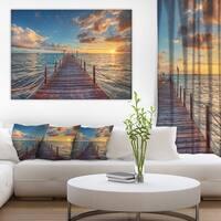Brilliant Sunrise over Sea Pier' Modern Bridge Canvas Wall Art