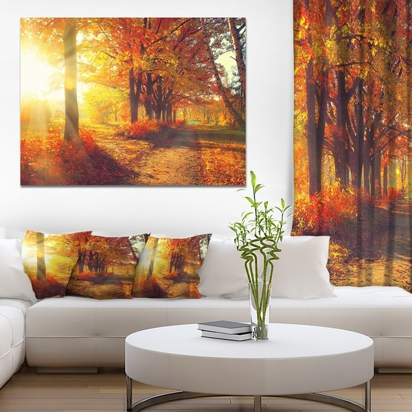 shop autumnal trees in sunrays large landscape art canvas print