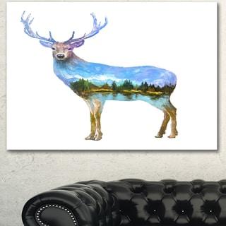 Designart 'Deer Double Exposure Illustration' Large Animal Canvas Wall Art Print