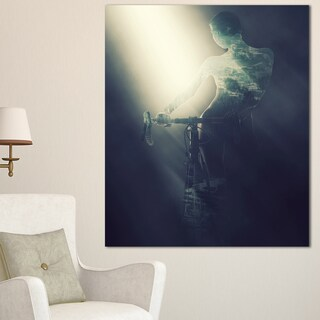 Designart 'Woman with Bicycle in Spotlight ' Modern Portrait Canvas Wall Art