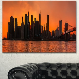 Designart 'Silhouettes of Manhattan Panorama' Extra Large Cityscape Wall Art on Canvas