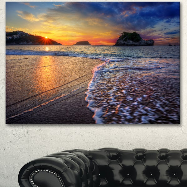 Designart 'Sandy Beach with Rush Waves' Seashore Art Print on Canvas