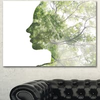 Designart 'Lady Combined With Green Tree' Portrait Canvas Wall Art Print