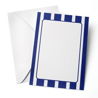 Blue Striped Custom Paper Invitations with Envelopes (10 Count)
