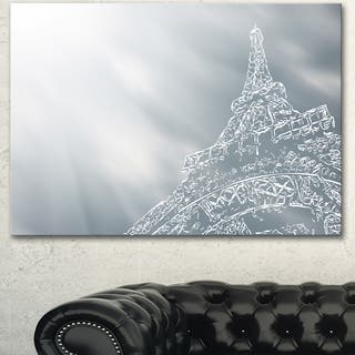 Designart 'Eiffel Tower Art Background' Extra Large Cityscape Wall Art on Canvas - Silver