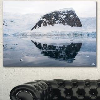 Designart 'Snowcap Hill in Antarctica' Seashore Art Print on Canvas