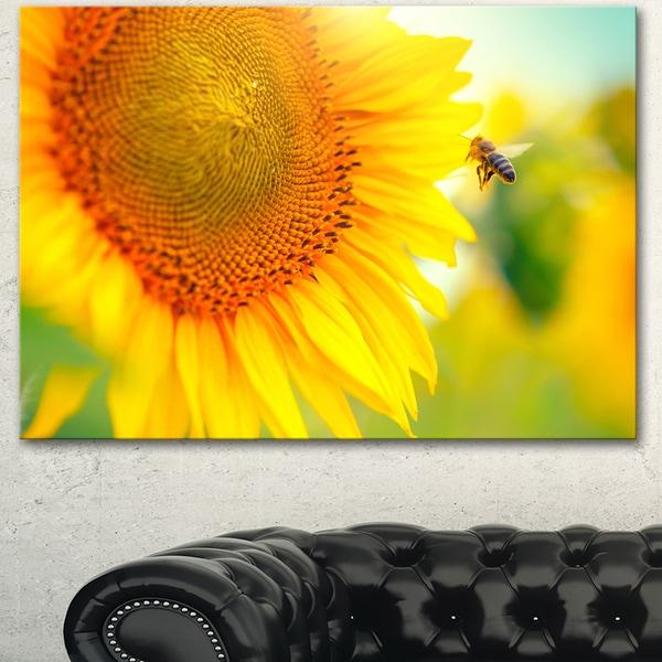 Designart 'Beautiful Sunflowers Blooming' Large Animal Canvas Wall Art Print - Yellow. Opens flyout.