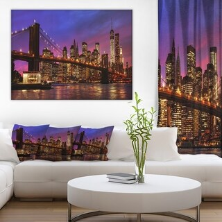 Brooklyn Bridge and Manhattan at Sunset' Cityscape Wall Art on Canvas