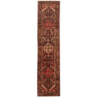 Herat Oriental Persian Hand-knotted Tribal Hamadan Wool Runner (3'2 x 13'9)