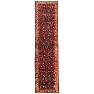 Herat Oriental Persian Hand-knotted Tribal Hamadan Wool Runner (3'6 x 13'8)