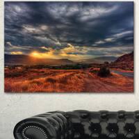 Designart 'Beautiful Sunrise in Osoyoos' Extra Large Landscape Art Canvas - Grey