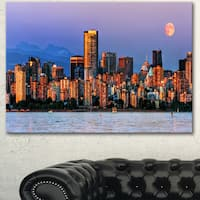 Designart 'Vancouver Downtown Skyscrapers' Extra Large Cityscape Wall Art on Canvas - Blue