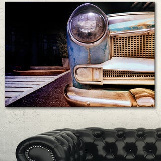 Designart 'Front Headlight Of Vintage Car' Modern Cars Canvas Wall Artwork