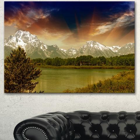 Designart 'Grand Teton National Park' Extra Large Landscape Art Canvas - Green
