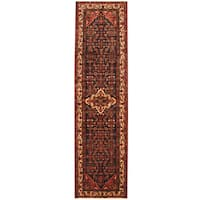 Herat Oriental Persian Hand-knotted Tribal Hamadan Wool Runner (3'8 x 13'6)