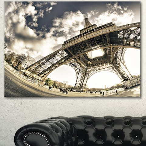 Designart 'Eiffel Tower in Sunny Winter Morning' Extra Large Cityscape Wall Art on Canvas - White