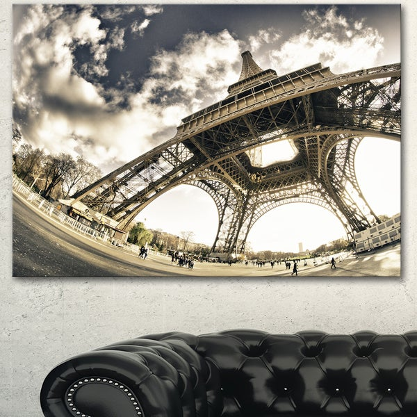 Designart 'Eiffel Tower in Sunny Winter Morning' Extra Large Cityscape Wall Art on Canvas - White. Opens flyout.