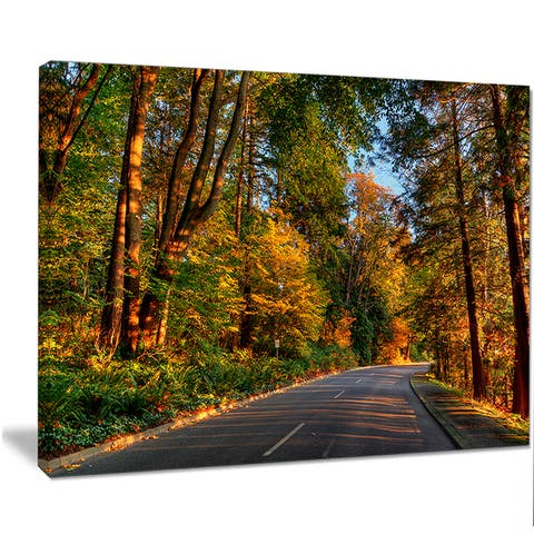 Designart 'Road through Lit-up Fall Forest' Landscape Wall Art Print Canvas - Green