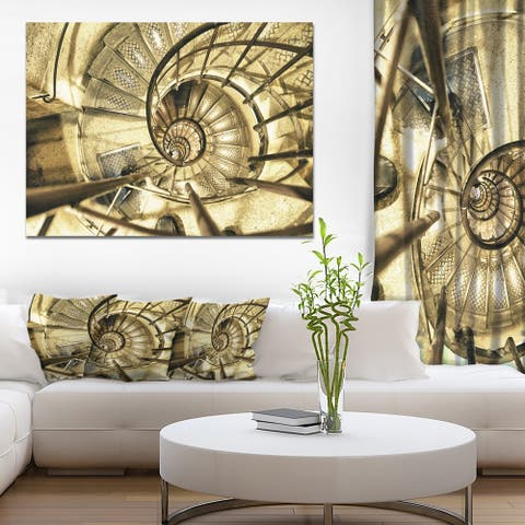 Architectural Detail of Paris in Winter' Modern Abstract Canvas Print - Brown
