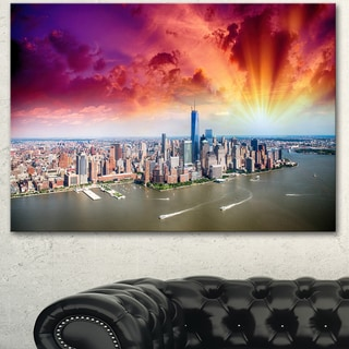 Designart 'Colorful New York Skyline Aerial View' Modern Cityscape Canvas Artwork