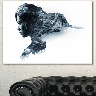 Designart 'Woman Portrait Double Exposure' Modern Portrait Canvas Wall Art