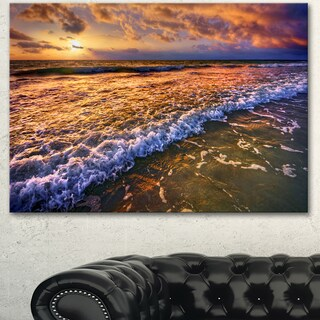 Designart 'Beautiful Sunset with White Waters' Seashore Art Print on Canvas