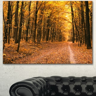 Designart 'Pathway in Yellow Autumn Forest' Large Forest Canvas Art