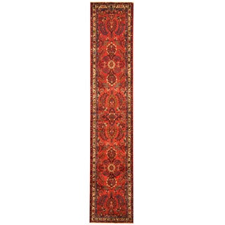 Herat Oriental Persian Hand-knotted Tribal Hamadan Wool Runner (2'5 x 12'8)