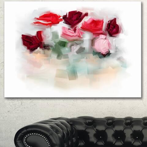 Designart 'Rose Floral Watercolor Illustration' Large Animal Canvas Wall Art Print - White