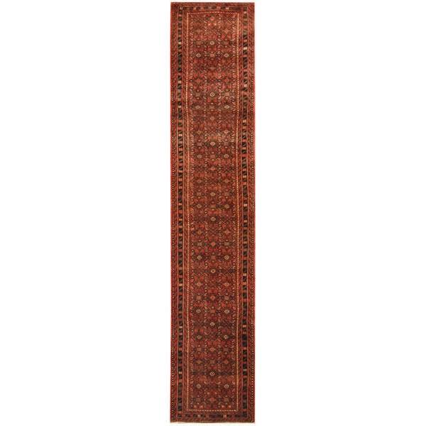 Herat Oriental Persian Hand-knotted Tribal Hamadan Wool Runner (2'9 x 13'6)