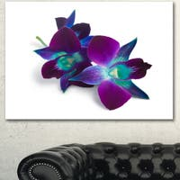 Designart 'Deep Purple Orchid Flowers on White' Flowers Canvas Wall Artwork