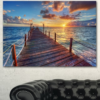 Designart 'Beautiful Sunset over Sea Pier' Modern Bridge Canvas Wall Art